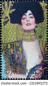Milan, Italy – February 11, 2019: Painting 'Giuditta' by Gustav Klimt on postage stamp