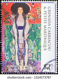 Milan, Italy – February 11, 2019: Portrait of Adele Bloch-Bauer by Klimt on stamp
