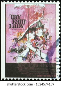Milan, Italy – February 11, 2019: Poster of movie 'My fair lady' on postage stamp