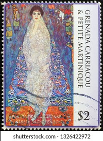 Milan, Italy – February 11, 2019: Portrait of Elisabeth Bachofen-Echt by Klimt on stamp