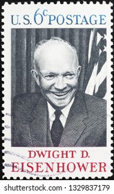 Milan, Italy – February 11, 2019: President Dwight Eisenhower on old american stamp