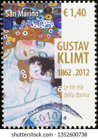 Milan, Italy – February 11, 2019: Three ages of woman by Klimt, detail on stamp