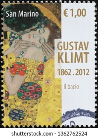 Milan, Italy – February 11, 2019: Detail from the kiss by Klimt on stamp