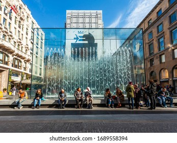 Milan, Italy, February 12, 2020. Attractive modern fountain in the historic city