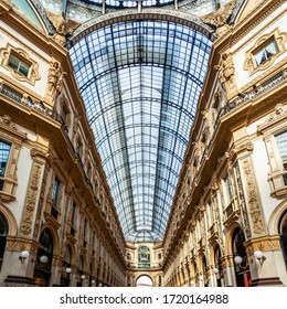 Milan, Italy, February 12, 2020. The historic Galleria Vittorio Emanuele II Milanese shopping center is one of the city's attractions. People go by the trade gallery