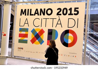 MILAN, ITALY - FEBRUARY 13: sign Expo 2015 at BIT, International Tourism Exchange Exhibition on February 13, 2014 in Milan, Italy