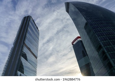 Milan, Italy - February 15, 2021: Milan, Lombardy Italy: the modern Citylife park. Isozaki, Hadid and Libeskind towers