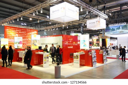 MILAN, ITALY - FEBRUARY 16: People visit Germany exhibition area during BIT, International Tourism Exchange Exhibition on February 16, 2012 in Milan, Italy.