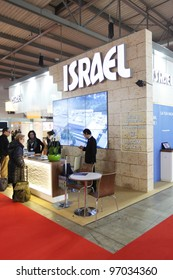 MILAN, ITALY - FEBRUARY 16: People visit Israel tourism exhibition area at BIT, International Tourism Exchange Exhibition on February 16, 2012 in Milan, Italy.
