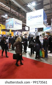 MILAN, ITALY - FEBRUARY 16: People visit Greece exhibition area during BIT, International Tourism Exchange Exhibition on February 16, 2012 in Milan, Italy.