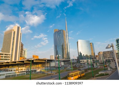 Milan, Italy - February 17, 2017: Piazza Gae Aulenti, important financial district of Milan, with the tallest skyscraper in Italy, headquarters of the Unicredit offices. Architect: César Pelli