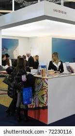 MILAN, ITALY - FEBRUARY 17: People visit tourism stands at the World pavilion at BIT, International Tourism Exchange Exhibition on February 17, 2011 in Milan, Italy.
