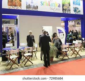 MILAN, ITALY - FEBRUARY 17: People visiting Sri Lanka tourism national stand, World pavilion at BIT, International Tourism Exchange Exhibition on February 17, 2011 in Milan, Italy.