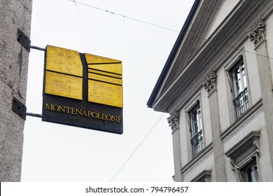 Milan, Italy - February 18 2017: Via Monte Napoleone sign. Day view of street sign at the shopping street in Milan fashion district also known as the Quadrilatero della moda.