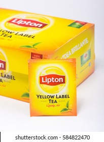 Milan, Italy - February 19, 2017 - Lipton yellow label tea.