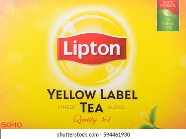 Milan, Italy - February 19, 2017 - Lipton yellow tea label tea.