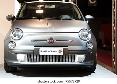 MILAN, ITALY - FEBRUARY 19: Fiat 500 with Borrani wheels on display at Milano AutoClassica, the classical and sporting car show in Milan, Italy on February 19, 2012
