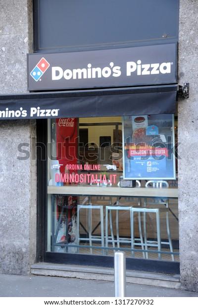Milan Italy February 192019 Dominos Pizza Stock Photo (Edit