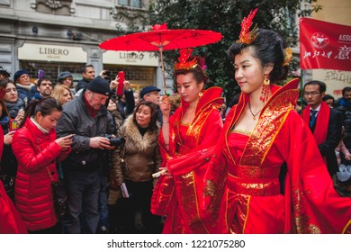Milan (ITALY) February 2, 2014 - The Chinese community celebrates the beginning of the year of the horse with the traditional parade. The event is followed by thousands of Milan.
