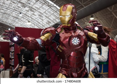 MILAN, ITALY - FEBRUARY 2: Iron man cosplayer poses at Festival del Fumetto, convention dedicated to comics and cosplay world on FEBRUARY 2, 2014 in Milan.