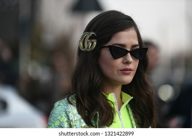 Milan, Italy - February 20, 2019:  Street style outfit before a fashion show during Milan Fashion Week - MFWFW19