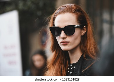 Milan, Italy - February 20, 2019: Models after a fashion show during Milan Fashion Week  - MFWFW19