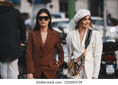 Milan, Italy - February 20, 2019: Street style outfit after a fashion show during Milan Fashion Week - MFWFW19