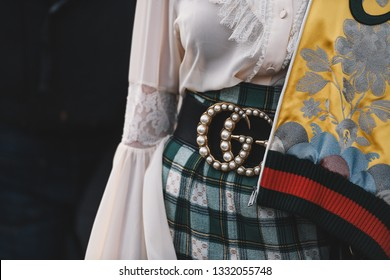 Milan, Italy - February 20, 2019: Street style - woman wearing Gucci after a fashion show during Milan Fashion Week - MFWFW19