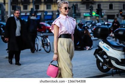 MILAN, Italy- February 20 2019: Caroline Daur on the street during the Milan Fashion Week.