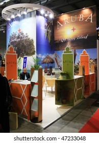 MILAN, ITALY - FEBRUARY 20: Close-up of Aruba Dutch Caribbean stand BIT, International Tourism Exchange Exhibition February 20, 2010 in Milan, Italy.