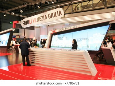 MILAN, ITALY - FEBRUARY 20: People visit World and Italy tourism pavilions during BIT, International Tourism Exchange Exhibition on February 20, 2011 in Milan, Italy.