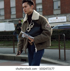 MILAN, Italy- February 21 2018: Man on the street during the Milan Fashion Week