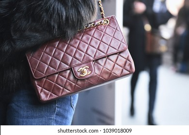 Milan, Italy - February 21, 2018: Chanel bag in detail - fashion street style concept