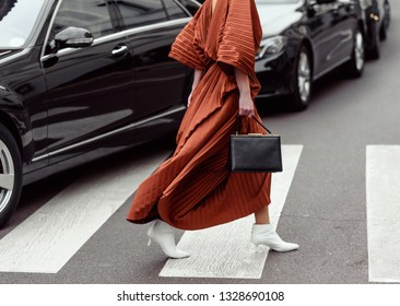 Milan, Italy - February 21, 2019: Street style outfits during Milan Fashion Week - - MFW19/20
