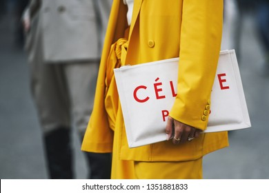 Milan, Italy - February 21, 2019: Street style – Detail of a Celine handbag before a fashion show during Milan Fashion Week - MFWFW19