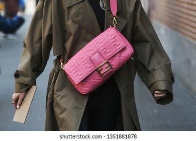 Milan, Italy - February 21, 2019: Street style – Fendi purse details before a fashion show during Milan Fashion Week - MFWFW19