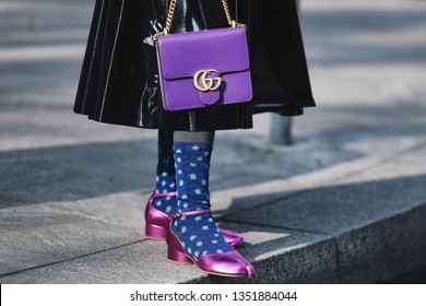 Milan, Italy - February 21, 2019: Street style – Gucci purse detail before a fashion show during Milan Fashion Week - MFWFW19