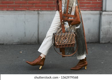 Milan, Italy - February 21, 2019: Street style – Fendi outfit detail after a fashion show during Milan Fashion Week - MFWFW19