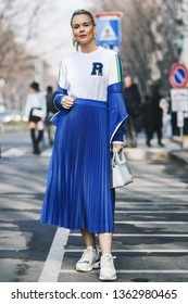 Milan, Italy - February 21, 2019: Street style – Outfit before a fashion show during Milan Fashion Week - MFWFW19
