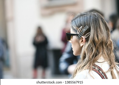 Milan, Italy - February 21, 2019: Street style – Look before a fashion show during Milan Fashion Week - MFWFW19