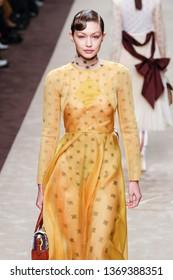 MILAN, ITALY - FEBRUARY 21: Gigi Hadid walks the runway at the Fendi show at Milan Fashion Week Autumn/Winter 2019/20 on February 21, 2019 in Milan, Italy.
