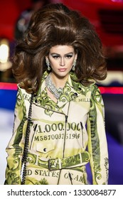 MILAN, ITALY - FEBRUARY 21: Kaia Gerber walks the runway at the Moschino show at Milan Fashion Week Autumn/Winter 2019/20 on February 21, 2019 in Milan, Italy.