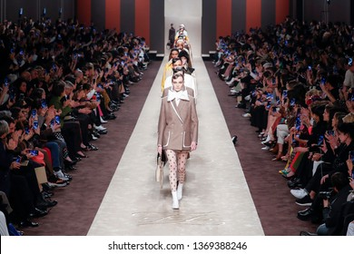 MILAN, ITALY - FEBRUARY 21: Models walk the runway finale at the Fendi show at Milan Fashion Week Autumn/Winter 2019/20 on February 21, 2019 in Milan, Italy.