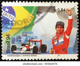 Milan, Italy - February 22, 2017: Formula 1 driver Ayrton Senna on brazilian postage stamp