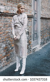 Milan, Italy - February 22, 2018: Fashion influencer Caro Daur posing before Max Mara show during Milan Fashion Week.