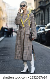 Milan, Italy - February 22, 2019: Street style - Influencer Linda Tol after a fashion show during Milan Fashion Week - MFWFW19