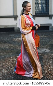 Milan, Italy - February 22, 2019: Street style – Influencer Nina Suess after a fashion show during Milan Fashion Week - MFWFW19