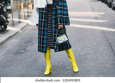 Milan, Italy - February 22, 2019: Street style – Furla purse detail after a fashion show during Milan Fashion Week - MFWFW19
