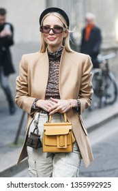 Milan, Italy - February 22, 2019: Street style – Influencer Leonie Hanne before a fashion show during Milan Fashion Week - MFWFW19