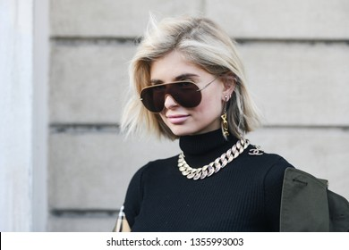 Milan, Italy - February 22, 2019: Street style – Influencer Xenia Adonts before a fashion show during Milan Fashion Week - MFWFW19